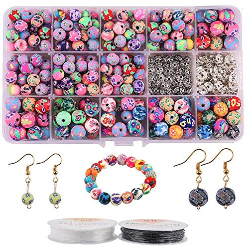 Colle 8/10mm Polymer Clay Beads for Jewelry Making Round Bead Colorful Polymer Clay Handmade Loose Beads Jewelry Making with 2 Rolls of Strings