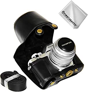 First2savvv Negro Calidad Premium Funda Cámara Cuero de la PU Cámara Digital Bolsa Caso Cubierta con Correa para Olympus OM-D E-M10 Mark III con 14-42mm II R Lens XJD-EM10 III-C01G11