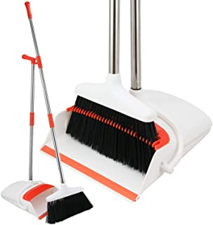 Broom and Dustpan Set - Strongest NO MORE TEARS 80% Heavier Duty - Upright Standing Dust Pan with Extendable Broomstick fo...