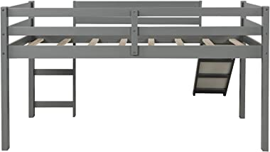 """Twin Loft Bed with Slide for Kids/Toddlers, Wood Low Sturdy Loft Bed, No Box Spring Needed, 78.2"""" L x 42.3"""" W x 44.4&"""