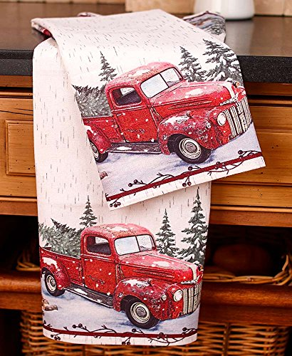 The Lakeside Collection Vintage Country Dish Towels with Red Pick Up Truck - Set of 2