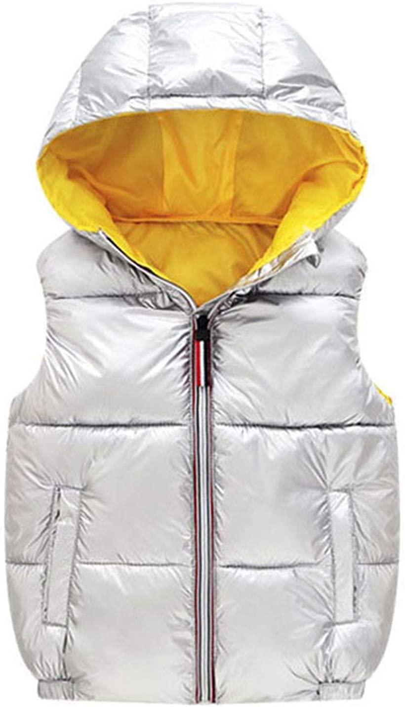 AMEBELLE Girl's Boy's Metallic Puffer Coat Down Vest Shiny Padded Hood Jacket