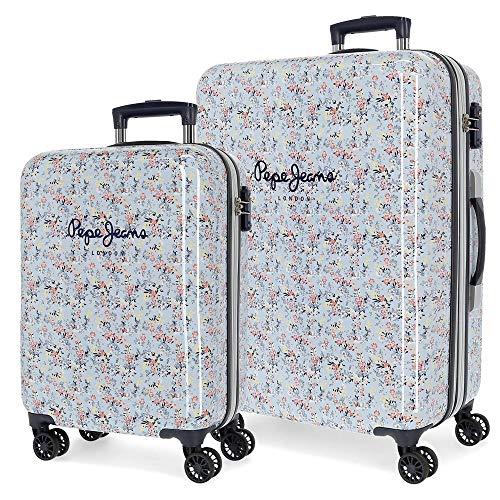 Pepe Jeans Malila Juego de maletas Azul 55/68 cms Rígida ABS Cierre TSA 104L 4 Ruedas dobles Equipaje de Mano