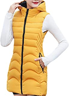 Women's Zipper Quilted Stand Collar Thickened Outwear Jacket Long Puffer Vest Hooded Down Vest