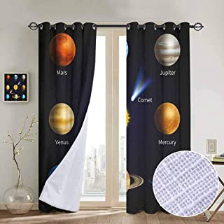 Educational 100% blackout lining curtain Realistic Solar System Planets and Space Objects Asteroids Comet Universe Space Full shading treatment kitchen insulation curtain W55 x L72 Inch Multicolor