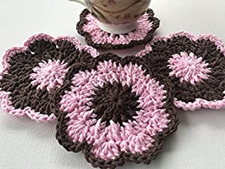 Crocheted Cotton Flower Coasters in Pink and Brown, Set of 4