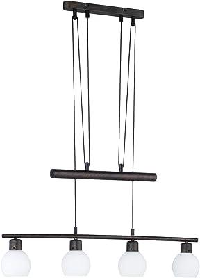 TRIO, Suspension, Freddy incl. 4 x LED,E14,4,0 Watt,3000K,320 Lm. Verre opale, Blanc, Corps: metal, Rouille antique L:78,0cm, L:10,0cm, H:180,0cm IP20,Hauteur réglable