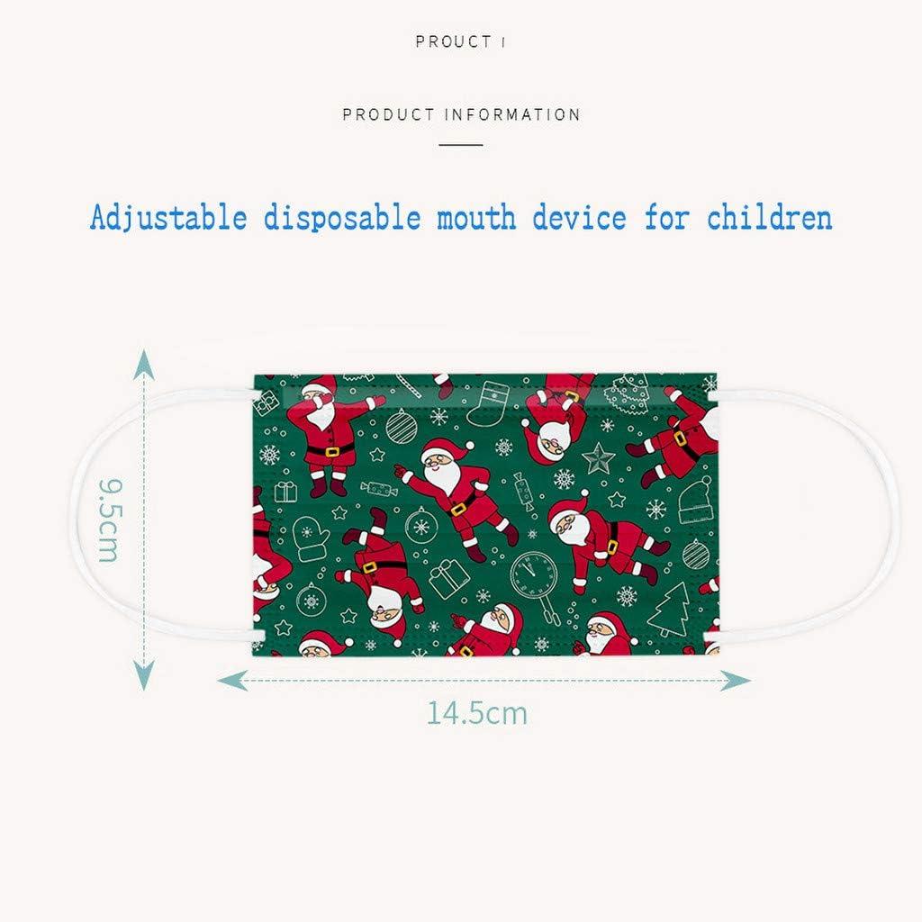 50 St/ück A YIWULA Weihnachten mit Atemventil Gedrucktes Cartoon-Muster Gesicht Bandanas Atmungsaktiv mit 50 St/ück Kinder Weihnachten Gesicht Bandanas
