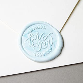 """UNIQOOO Arts & Crafts """" for you"""" Signature Design Wreath Wax Seal Stamp, Handwritten Calligraphy By Shelly Kim – Perfect Decoration For Invitations, Greeting Cards, Wine Packages, Valentine's Day Gift"""