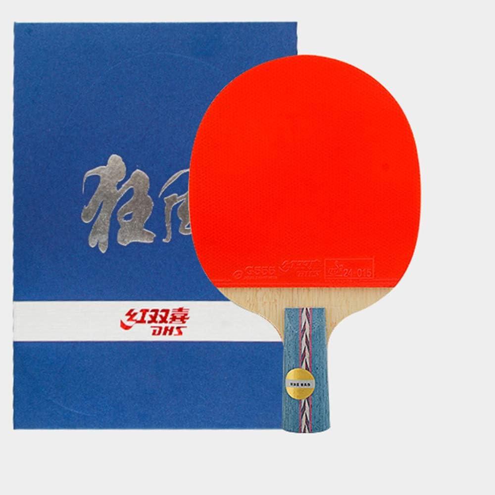 XGGYO Profesional Palas Tenis Mesa, Raquetas de Ping Pong Madera pura de 5 Capas, Una Combinación de Defensa y Ofensiva / 7 Stars/mango corto