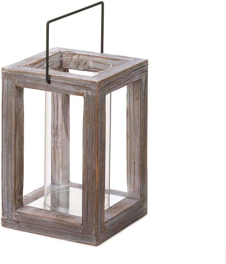 Amazon Com Rustic Weathered Look Country Style Indoor Outdoor Wooden Candle Lantern Home Kitchen