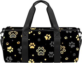 EGGDIOQ Gold Dog Paw Print and Star Designed Fashion Travel Duffel Bag Luggage Handbag Gym Sports Tote Bags for Man Women ...