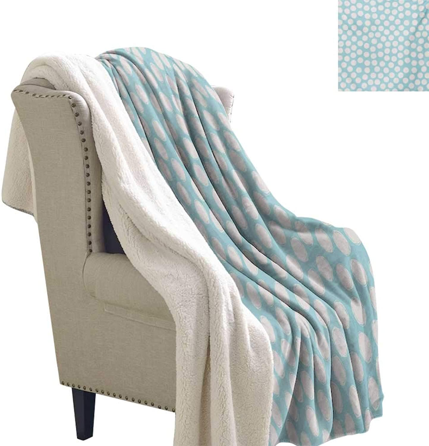 Sunnyhome Kids Lightweight Blanket 60x32 Inch Doodle Style Spots on a Pale bluee Background Artistic Boys Kids Baby Pattern Plush Throw Blanket Pale bluee and White