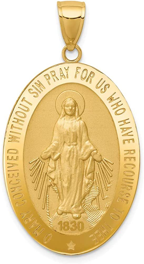 14k Yellow Gold Miraculous Medal Pendant Charm Necklace Religious Fine Jewelry For Women Gifts For Her