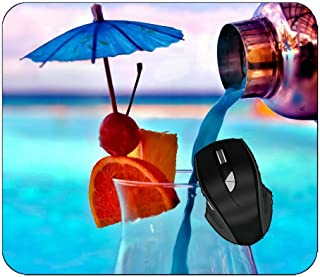 Mousepad Summer Tropical Glass Turquoise Drink Cocktail Non-Slip Rubber Mouse Pad