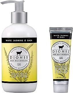 Dionis Goat Milk Body Lotion and Hand Cream Gift Set (White Jasmine & Shea, 2 Piece)