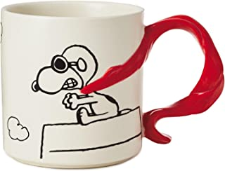Hallmark Peanuts Snoopy Flying Ace With Scarf Handle Mug, 12 oz.