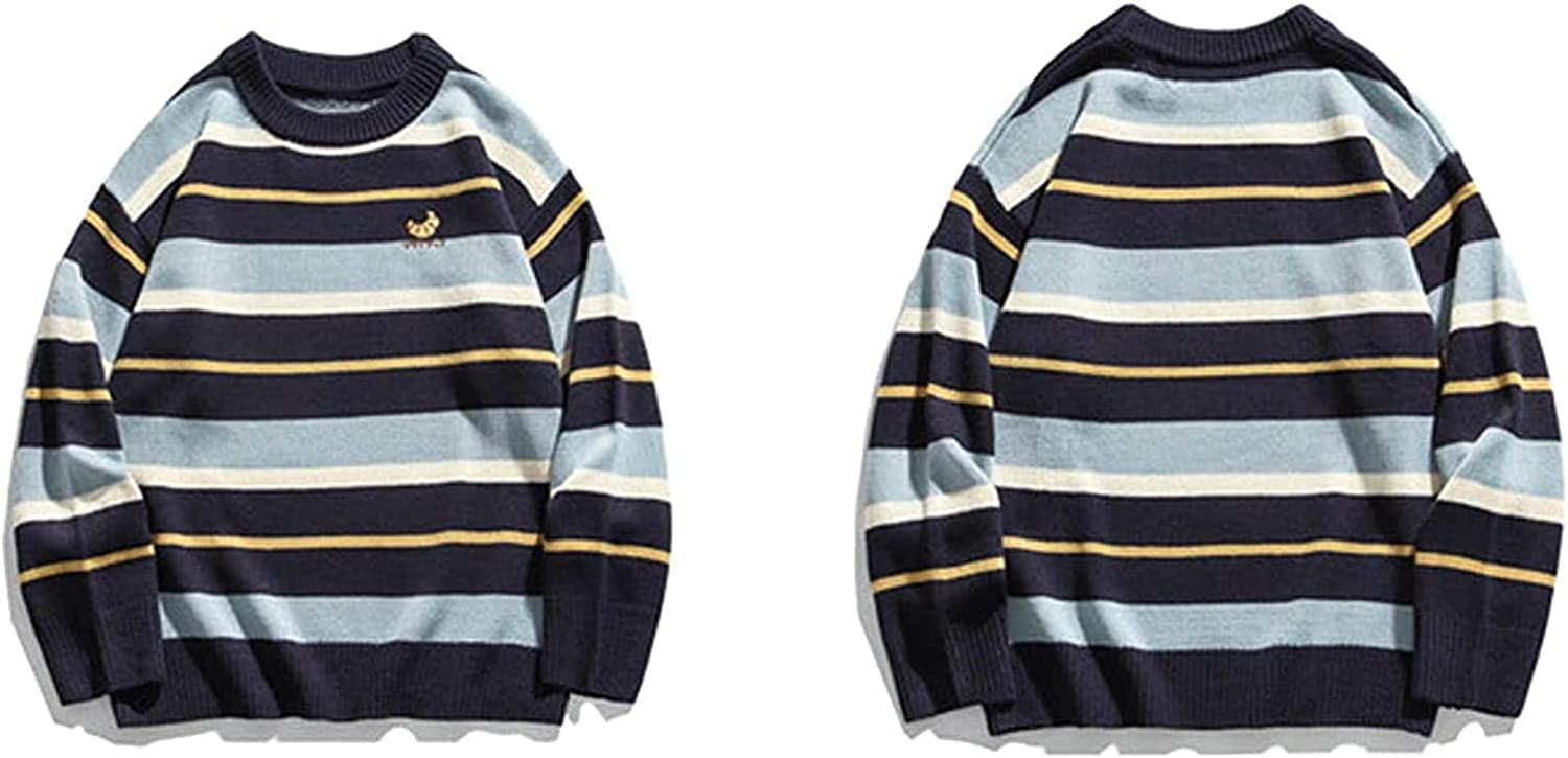 Knitted Stripes Embroidery Jumper Sweaters Streetwear Mens Hip Hop Fashion Casual Pullover Knitwear Tops Women