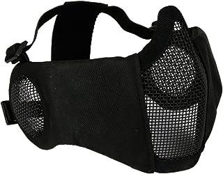 Csペイントボール狩猟調節可能なハーフフェイスローワーマスク耳保護エアガンメッシュマスクミリタリー戦術メッシュマスク-BK