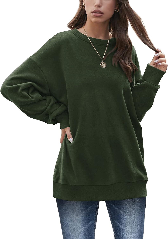 XIEERDUO Oversized Sweatshirts for Women Crewneck Long Sleeve Tunic Tops for Leggings