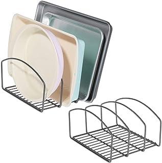mDesign (Lot de 2 égouttoir en métal pour casseroles, poêles et couvercles – Range Couvercle à 3 Places pour Placard de Cu...