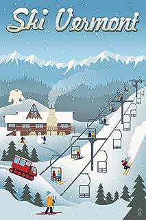 Vermont - Retro Ski Resort (9x12 Art Print, Wall Decor Travel Poster)