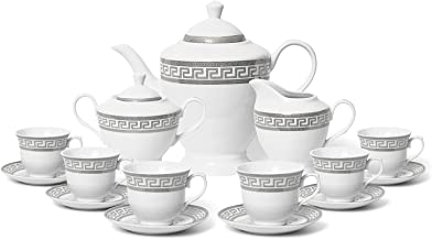 Euro Porcelain 17-Pc. Vintage 'Silver Greek Key' Tea Cup Coffee Set, Complete Service for 6