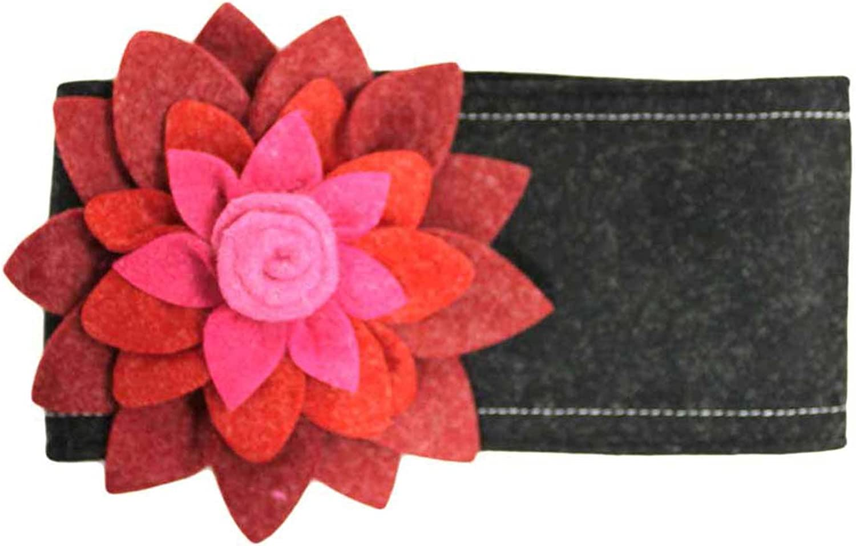 Black Felt Headband With Large Two-Tone Flower