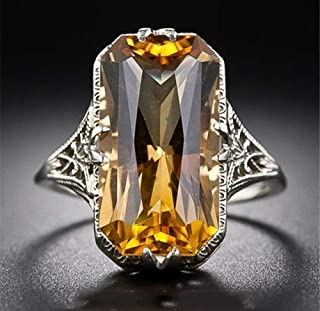 Aimys Vintage Women 925 Sliver Ring Citrine Natural Party Wedding Engagement Jewelry Cocktail Party Bridal Engagement Hollow Engraving Band (6)