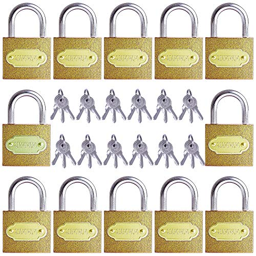 Padlocks Keyed Alike 12 Pack 30mm Miini Small Lock with 3 Keys for Securing Your Great for Gym Locker, Suitcase, Backpacks, Jewelry Boxes, Luggage and More (Golden)