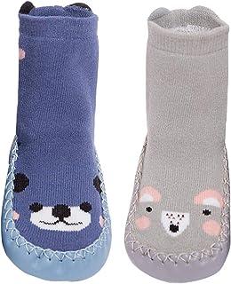 Bebé Niña Calcetines Zapatillas Antideslizante 2 Pcs Niño Recién Nacido Calcetín de Piso Algodón Zapato de Estar en Casa Dibujo Animado Otoño Invierno - 0-18 Meses