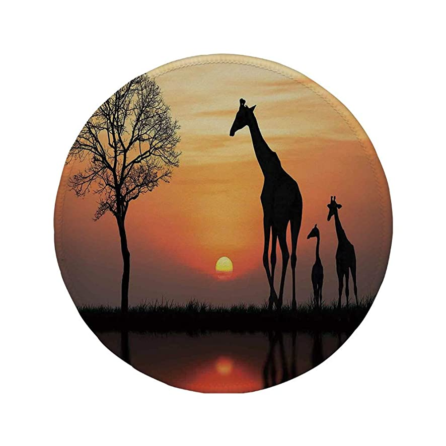 Non-Slip Rubber Round Mouse Pad,Wildlife Decor,Giraffes on Bushes by Lake Surface Horizon in The Middle of Nowhere Image,Orange Black,11.8