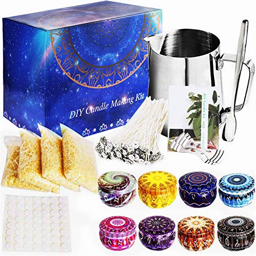 MOOING Candle Making Kit, Candle Beginners DIY Starter Set to Create Candle/Scented Candle,Complete Candle DIY Set with Wax Melting Jug/Pot, Beeswax, Wicks, Wick Stickers,Candle Tins and More