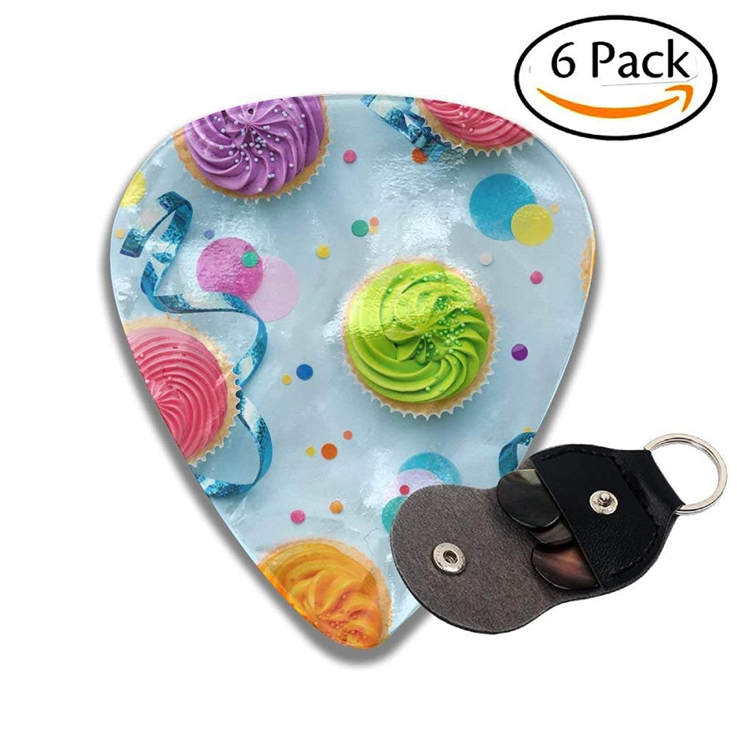 Colorful Cupcake Party Background On Blue Stylish Celluloid Guitar Picks Plectrums For Guitar Bass .46mm 6 Pack