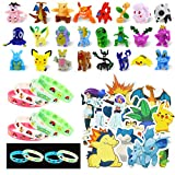 Lunriwis Pokémon Spielzeug Pokemon Spielzeug Set, 24 Stück Pokémon Pearl Minifiguren , 12 Stück Pokémon Silikon Armband, 50 Stück Pokemon Kinder Aufkleber Pokemon Spielzeug Geschenk Partygeschenke