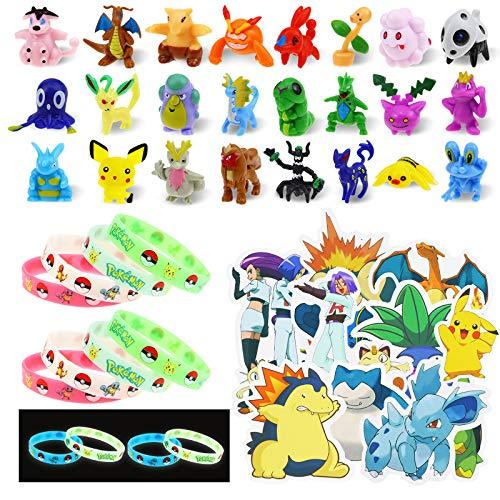 Lunriwis figuras pokemon Monster,24 mini figuras pokemon pikachu 12 Pulsera de Silicona, 50 pegatinas pokemon