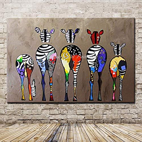 SUNFFFW Pinturas Pintadas A Mano Cebra Animales Lienzo Pintura Al Óleo para Sala De Estar Decoración del Hogar Arte De La Pared Cuadros Pinturas Murales
