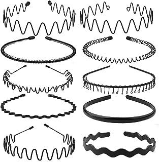 obmwang 12 Pack Metal Headband Unisex Spring Wavy Hair Hoop Men Women Sport Non-Slip Headwear Hair Accessories