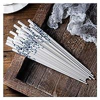 調理器具、台所用品、箸 10ペア/ロット青と白の釉薬のセラミック箸が簡単な健康とさまざまな花 高品質で耐久性のある箸