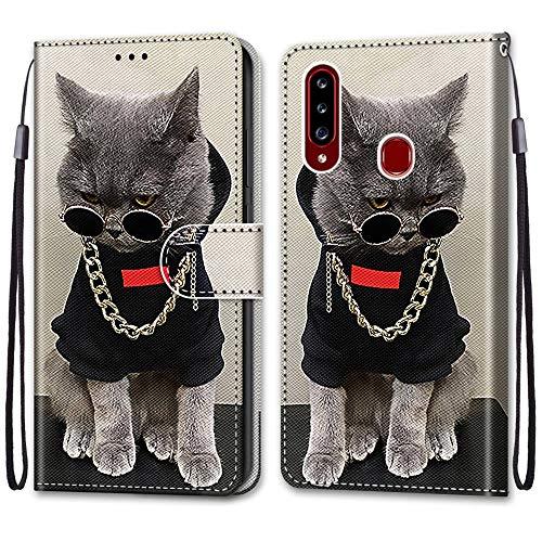 Nadoli Handyhülle Leder für Samsung Galaxy A20S,Bunt Bemalt Cool Gold Kette Katze Trageschlaufe Kartenfach Magnet Ständer Schutzhülle Brieftasche Ledertasche Tasche Etui