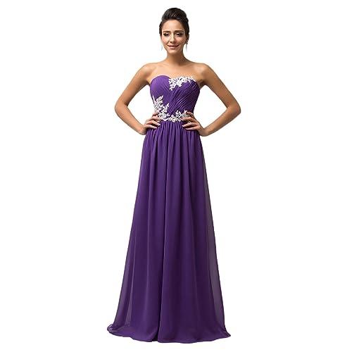 da8bdc3a44 GRACE KARIN Women Long Evening Wedding Dress Chiffon Ball Gowns Prom  Bridesmaid Dress with Applique