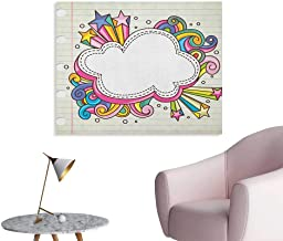 Anzhutwelve Doodle Wall Sticker Decals Colorful Retro Style Cloud Burst on Sketchbook Style Backdrop Art of Drawing Theme Custom Poster Multicolor W32 xL24