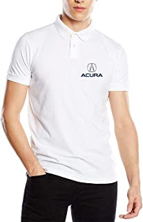 Personalized Acura Logo New Polo T-Shirt for Mens 100% Organic Cotton V-Neck White