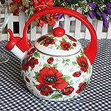 Hervidor en la estufa, exquisito y hermoso, 2,2 L de esmalte rojo para jardín