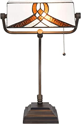 Lumilamp 5LL-5195 Lampe de Bureau Style Art Deco Tiffany Marron/Blanc 31 x 30 x 52 cm E27 1 x 60 W
