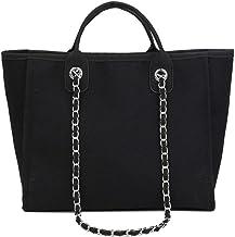 Gxklmg Frauen-Segeltuch-Schulter-Beutel-große Kettentragetasche Satchel Shopper-Handtasche zufällige Spitze Griff Geldbeutel,Schwarz