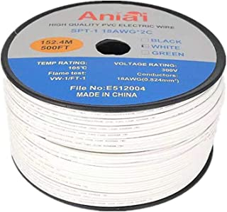 Aniai SPT-1 Commercial Grade Wire Bulk Electrical Wire 18 AWG 10 Amps 500 Foot Spool Zip Wire (White)