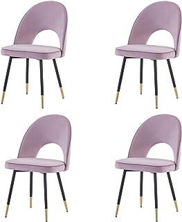 Greneric Juego de 4 sillas de comedor de color lila claro con cojín y respaldo de terciopelo dorado, patas de metal doradas, para casa y salón (lila claro, 4)