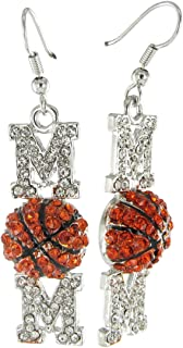 Topaz Crystals with Black Enamel Stripes Small Basketball Rhinestone Fish Hook Earrings