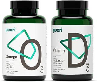 Puori Omega 3 Fish Oil and Vitamin D3 Supplement Bundle